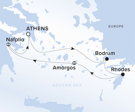 A map showing the Aegean Sea. A line of the voyage route from Athens to Bodrum, Rhodes, Amorgos, Nafplio and Athens.